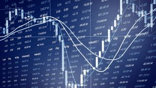 Financial business graph chart analysis stock market graph background / Stock market or forex trading graph and candlestick chart indicator for financial investment concept